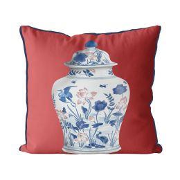 Chinoiserie Vase Crane Garden on Red