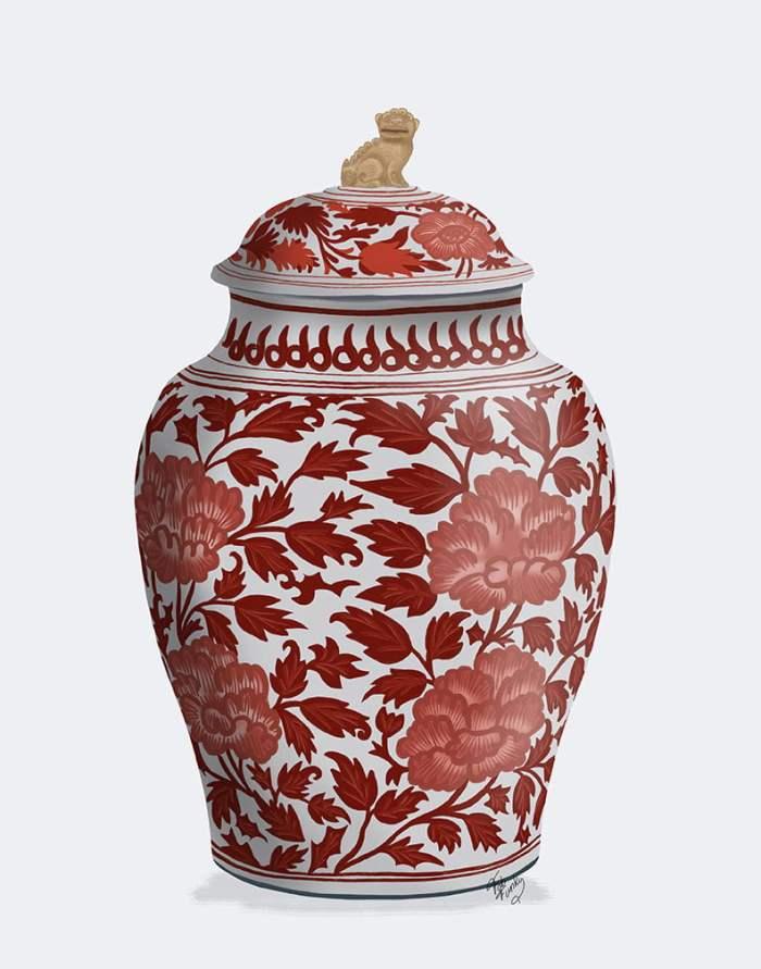 Chinoiserie Vase Golden Lion Red