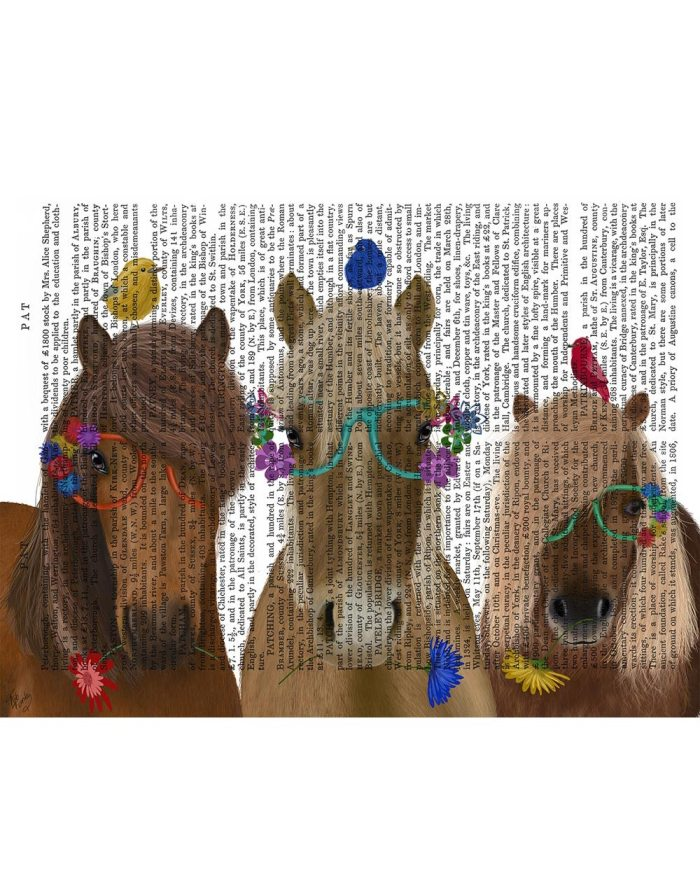 Horse Trio with Flower Glasses