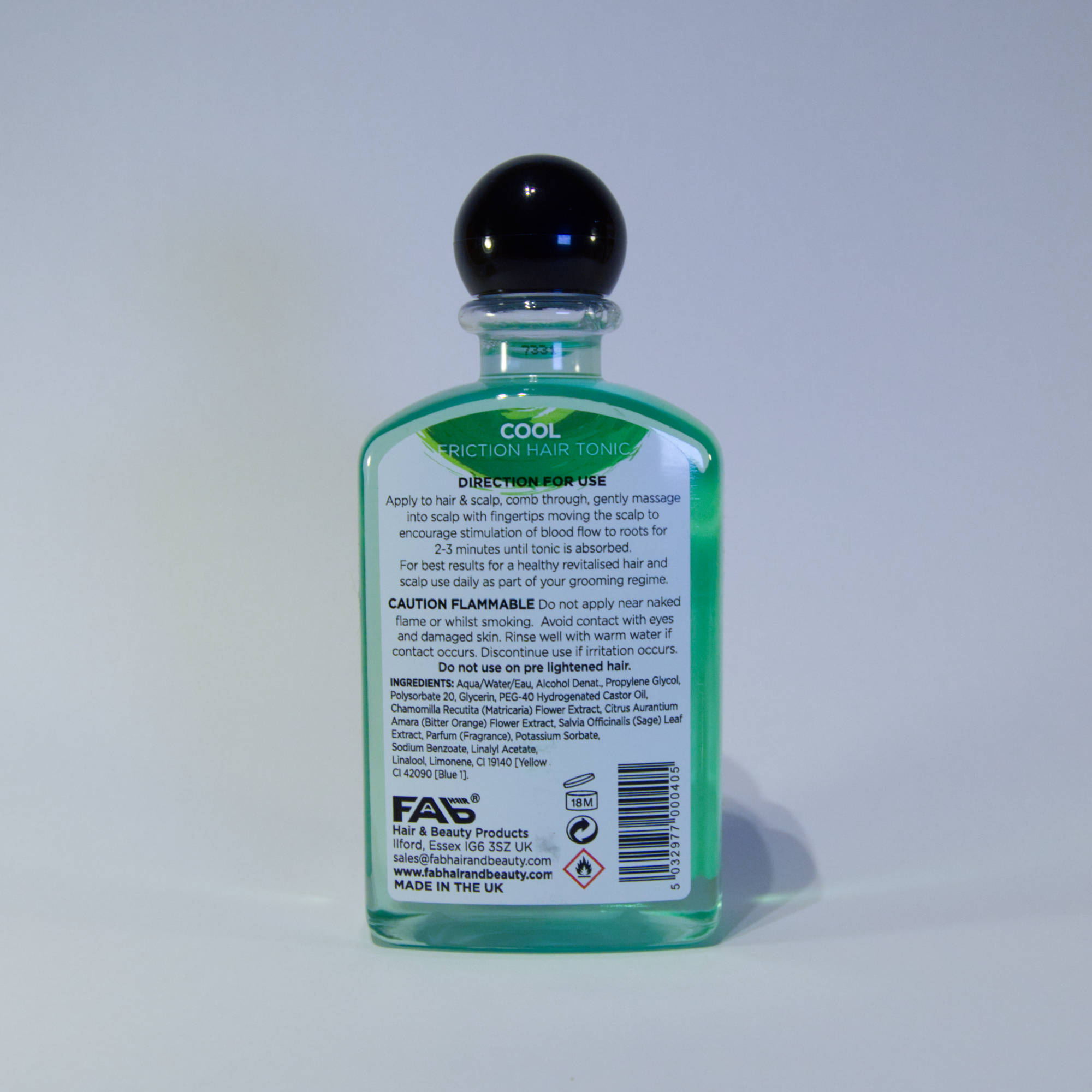 250ml bottle of Cool flavoured FAB friction hair tonic (rear view)