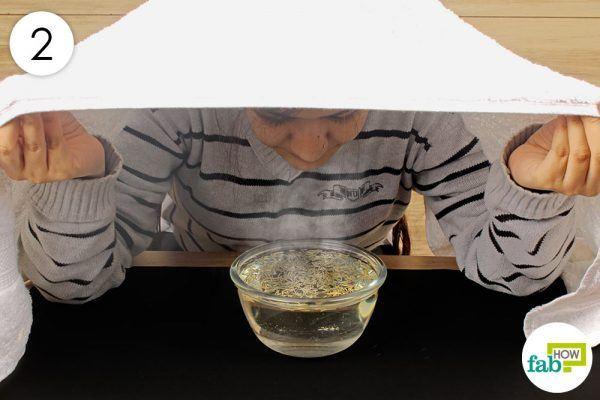 inhale the steam to get rid of phlegm