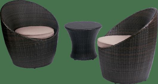 ensemble fauteuils et table basse de jardin belize revetement resine tressee couleur du