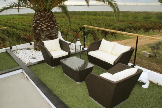salon de jardin petit espace club design 4 places aluminium resine tressee canape fauteuil coussin table basse