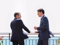 Macron e Trudeau al G7 di Taormina