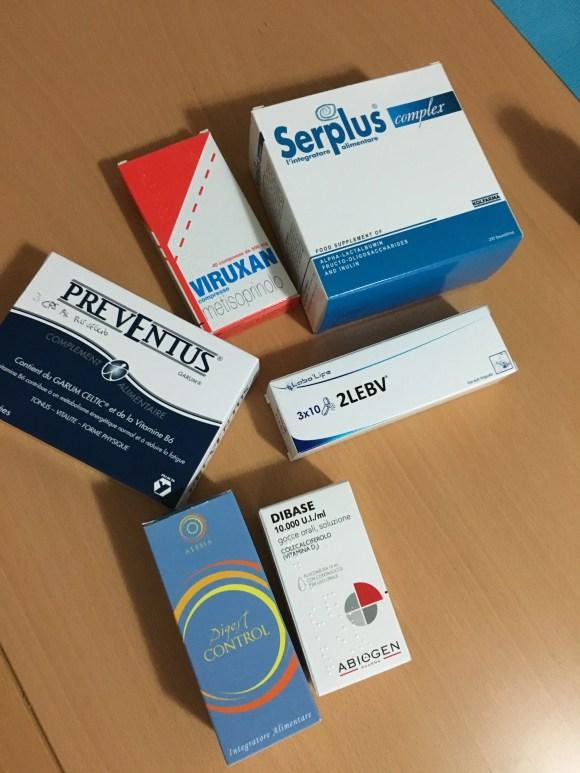 Serplus, Viruxan , prima dell'arrivo delle capsule galeniche contenenti DHEA, tiroide secca suina , cordyceps ed altre cose.
