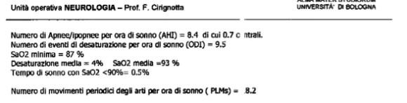 referto polisonnografia cirignotta