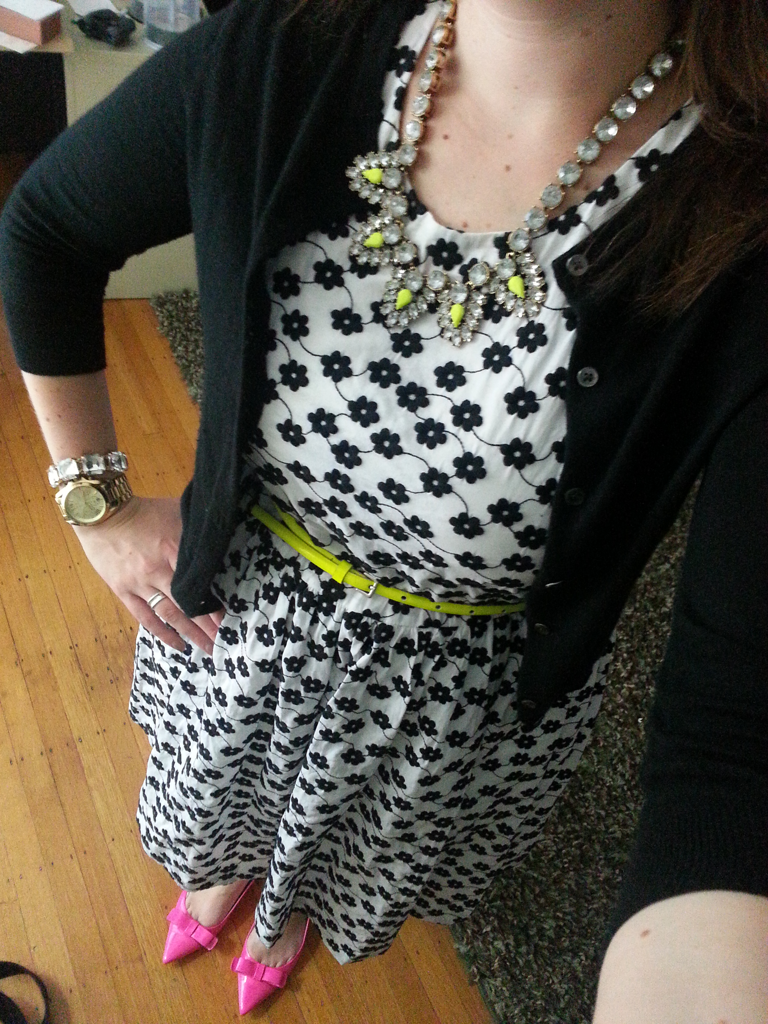 b9499179ff5 Necklace  J.Crew Factory Jeweled Triangle Necklace   Cardigan   J.Crew  Featherweight Cashmere Cardigan   Flats  Kate Spade Gabe Flats (sold out)