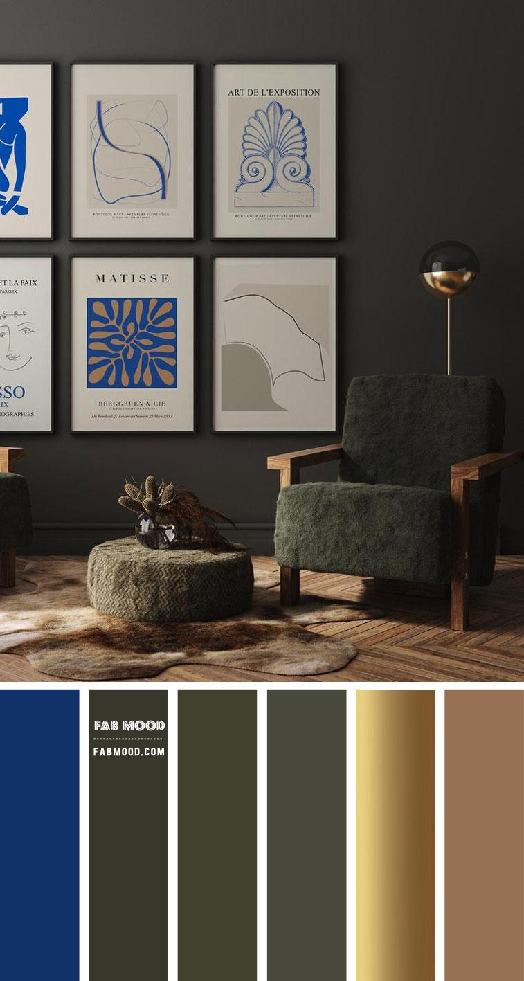 Blue Gold Metallic Olive Green Living Room Color Scheme