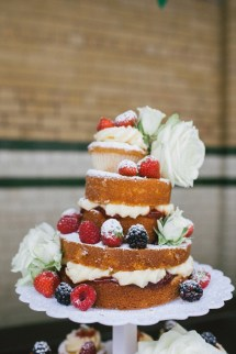 naked rustic wedding cake