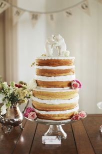naked wedding cake with bear toppers