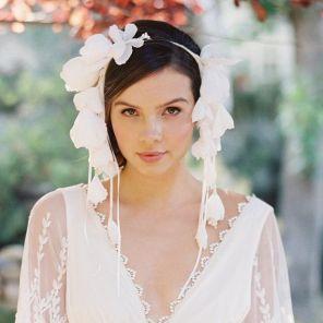 Flower bridal crown bridal headband silk by EricaElizabethDesign on etsy