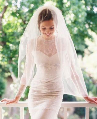 Tulle and Chantilly Lace Drop Mantilla Wedding Veil.