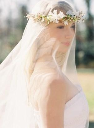 Wedding Flower Crown Over a Drop Veil