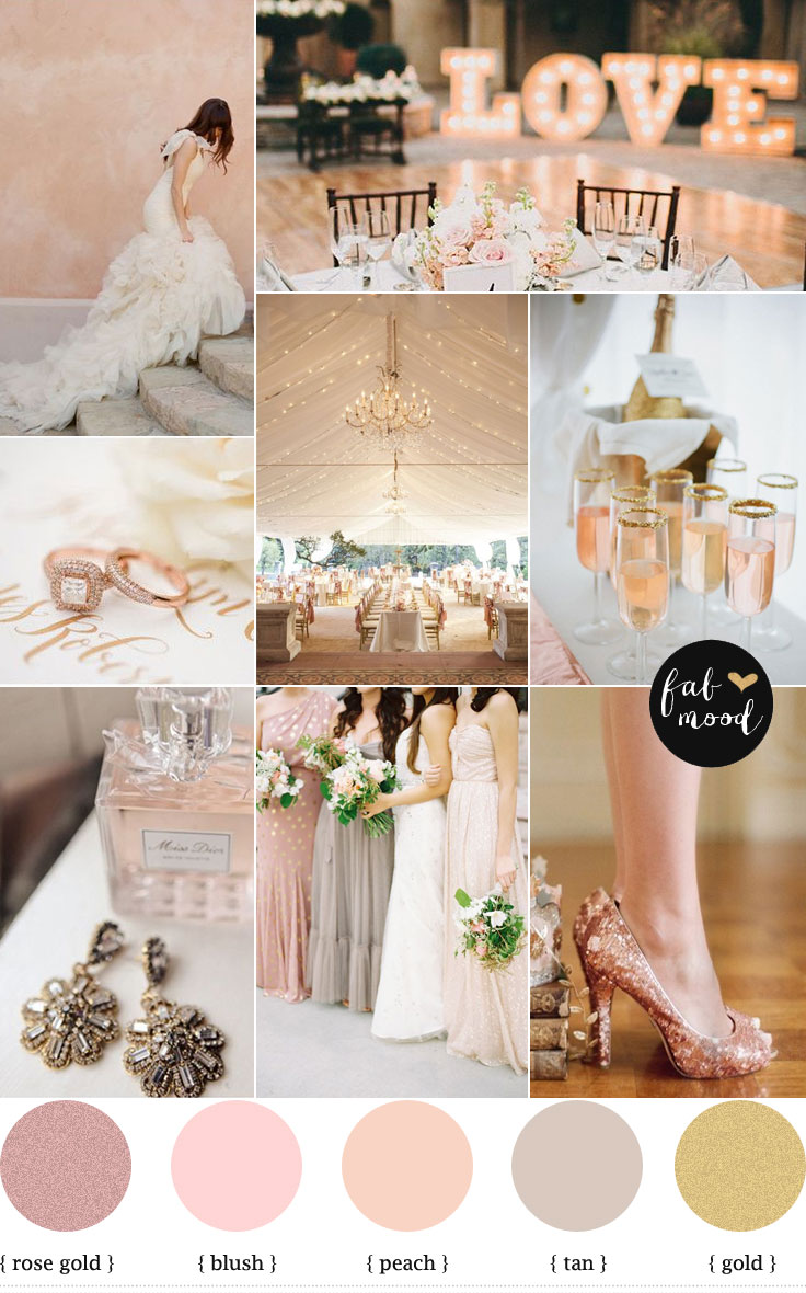 rose gold wedding color palette rose blush gold wedding theme rose gold wedding color