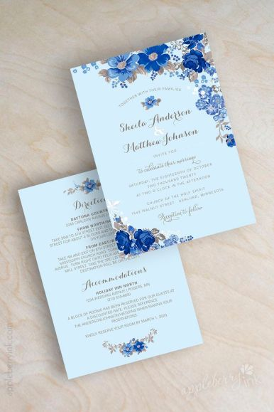 blue wedding invitations | fabmood.com