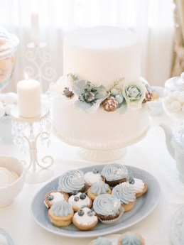 White frosted wedding cake and Winter wedding desserts | Light Blue Winter Wedding Read more Real Winter Weddings | fabmood.com #winterwedding