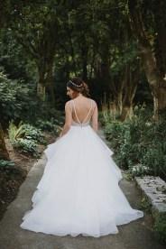 Dori by Hayley Paige in platinum | Bride wore flounced wedding gown | Fab Mood #hayleypaige #weddingdress