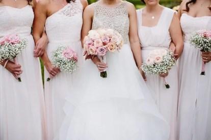 blush pink roses and gypsophila forthe bouquets ,bridesmaid'sbouquets | Bride and white bridesmaid dresses for June Wedding | fabmood.com #bridesmaids #whitebridesmaids #whitebridesmaiddresses