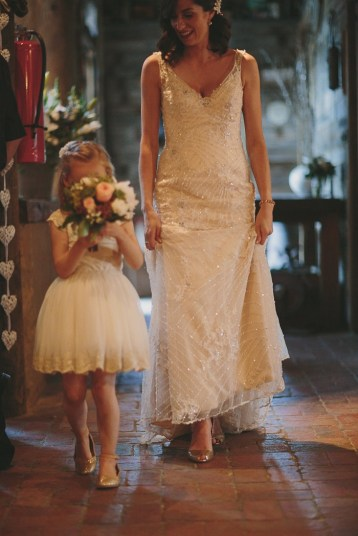 Rustic and Relaxed Wedding + Champagne wedding gown by Sottero and Midgley