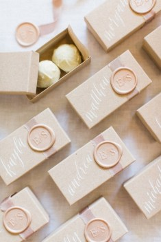 wax seal on wedding favor & place cards