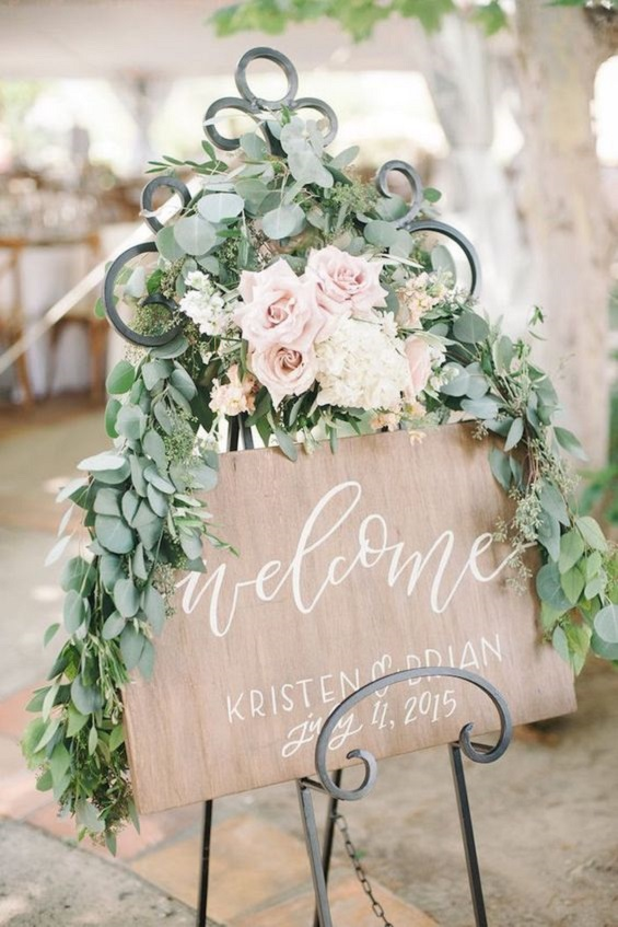 Welcome wooden sign -garden wedding - Spring wedding , blush wedding color #color #blush wedding theme, blush wedding colour ideas #weddingideas