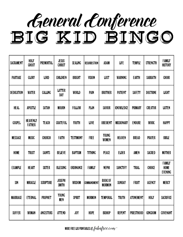 Big Kids General Conference Bingo Fab N Free
