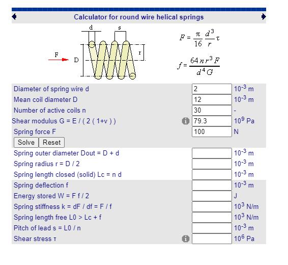 Fabricadoprojeto calculos Mecanicos Online mola de compressao cilindrica