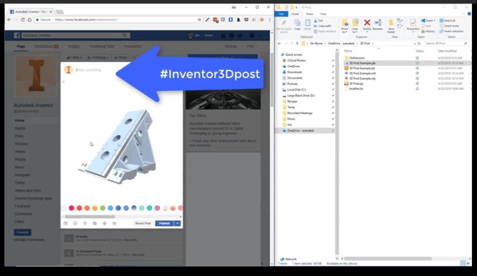 Criar post 3D Inventor para Facebook