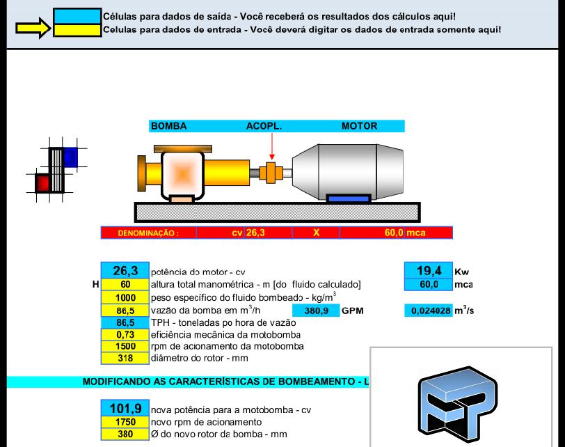 AFP.03.10111 Dimensionamento calculo planilha bomba centrifuga potencia capacidade fp
