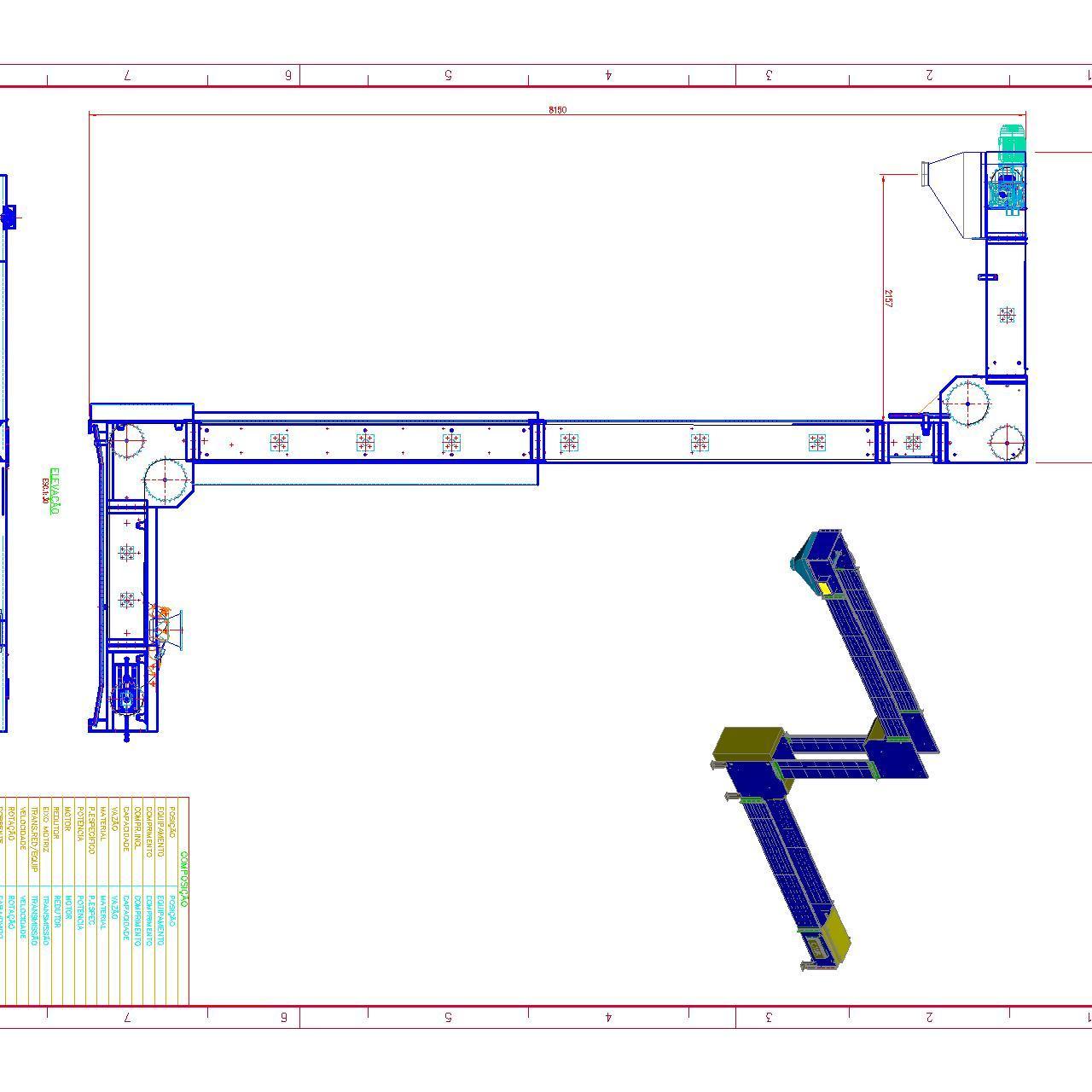 projeto mecanico completo elevador transportador tipo Z