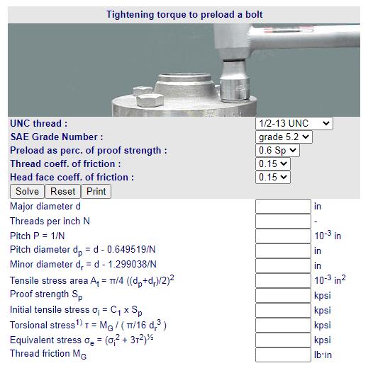 Calculo Torque aperto para precarga parafuso UNC Fabricadoprojeto