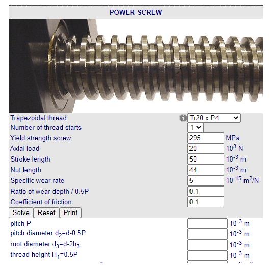 Calculo de Rosca trapezoidal Torque Potencia Fabricadoprojeto