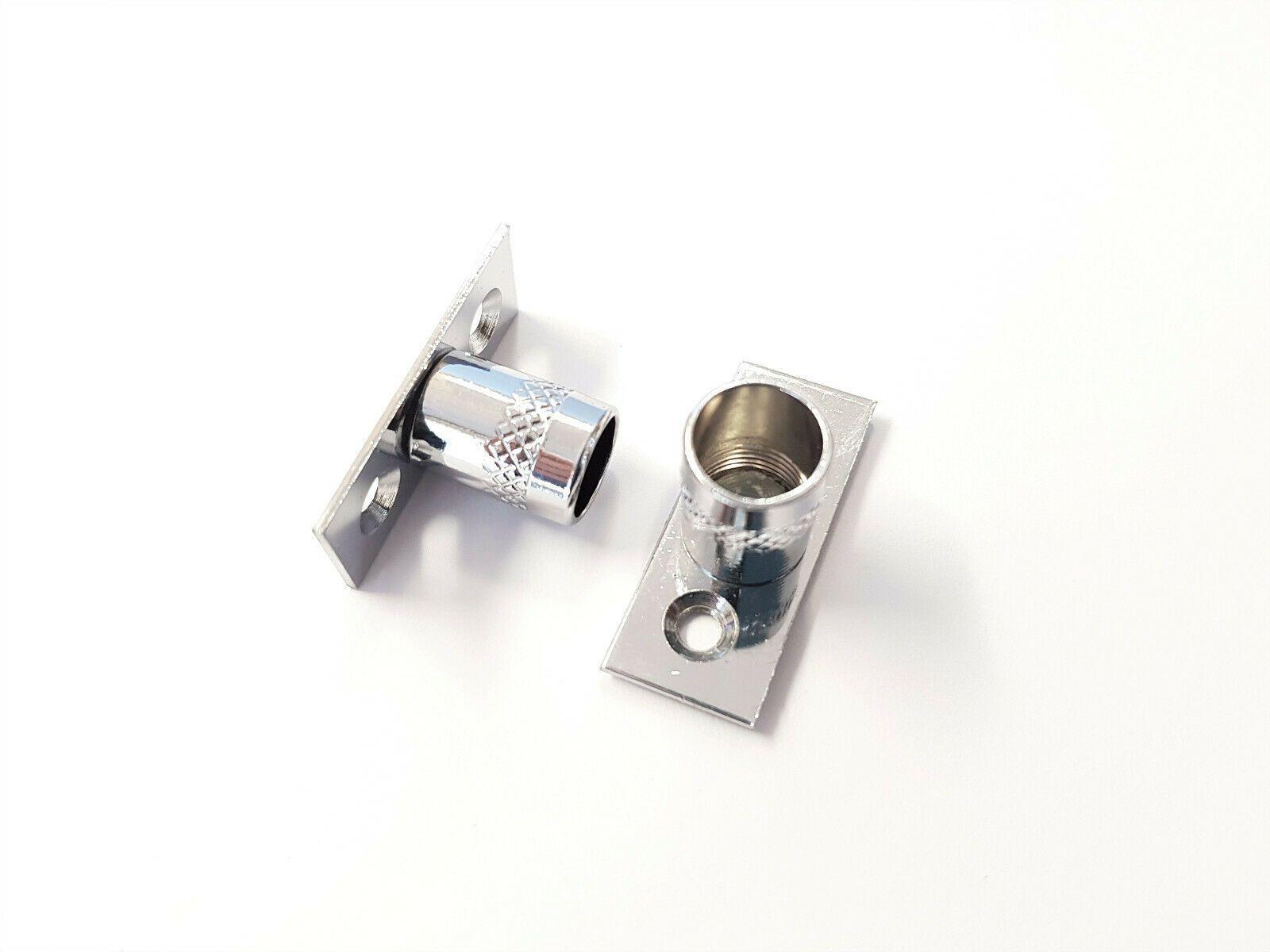 2 chrome curtain rod recess brackets 10mm pole support brackets net voile socket