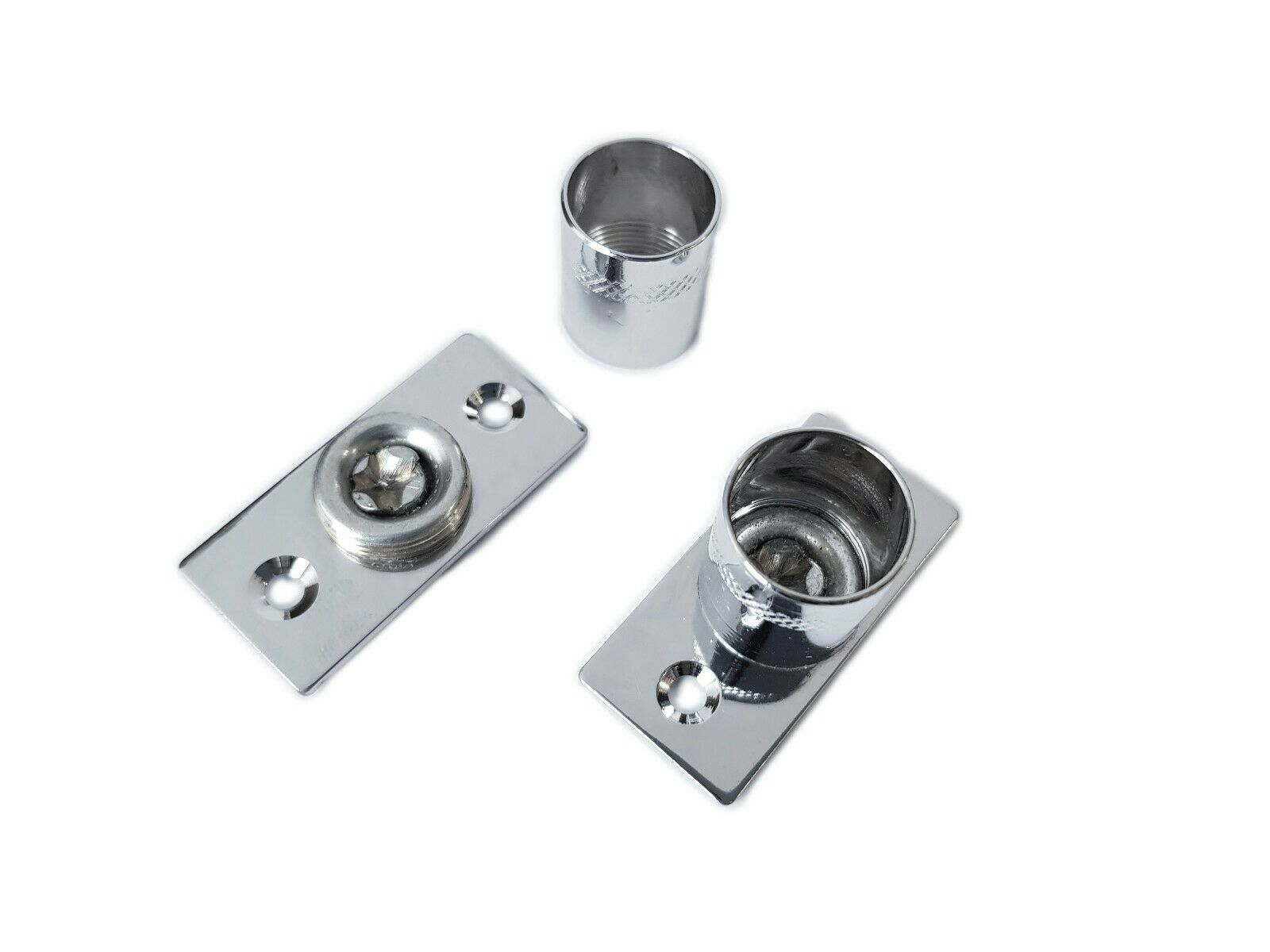 2 chrome curtain rod recess brackets 16mm pole support brackets net voile socket