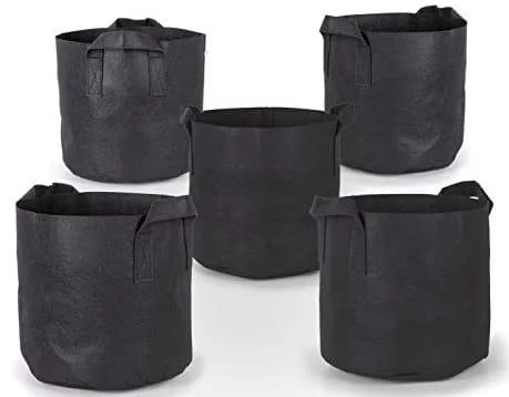 247 Garden 5 Pack 7 Gallon Grow Fabric Pots
