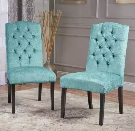 Clark Teal Green Soft Fabric Dining Chairs