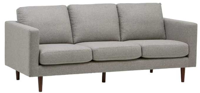 "Rivet revolve modern sofa, 80""w grey weave"