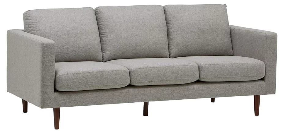 "Rivet revolve modern sofa, 80""w grey weave"