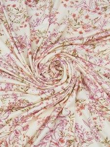100% Cotton Floral Print Voile 44W Buttercream/Dark Slate Blue/Plum/Multi