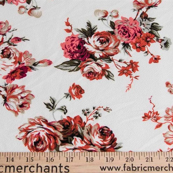 Wholesale Fabric Liverpool Floral Roses Pink Red On White