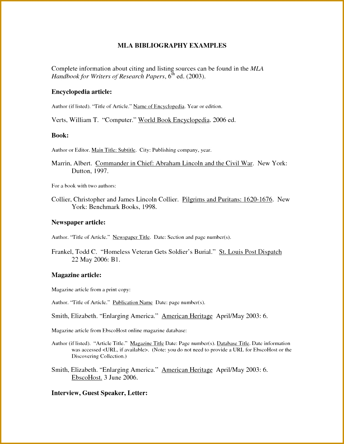 5 Bibliography Outline Template