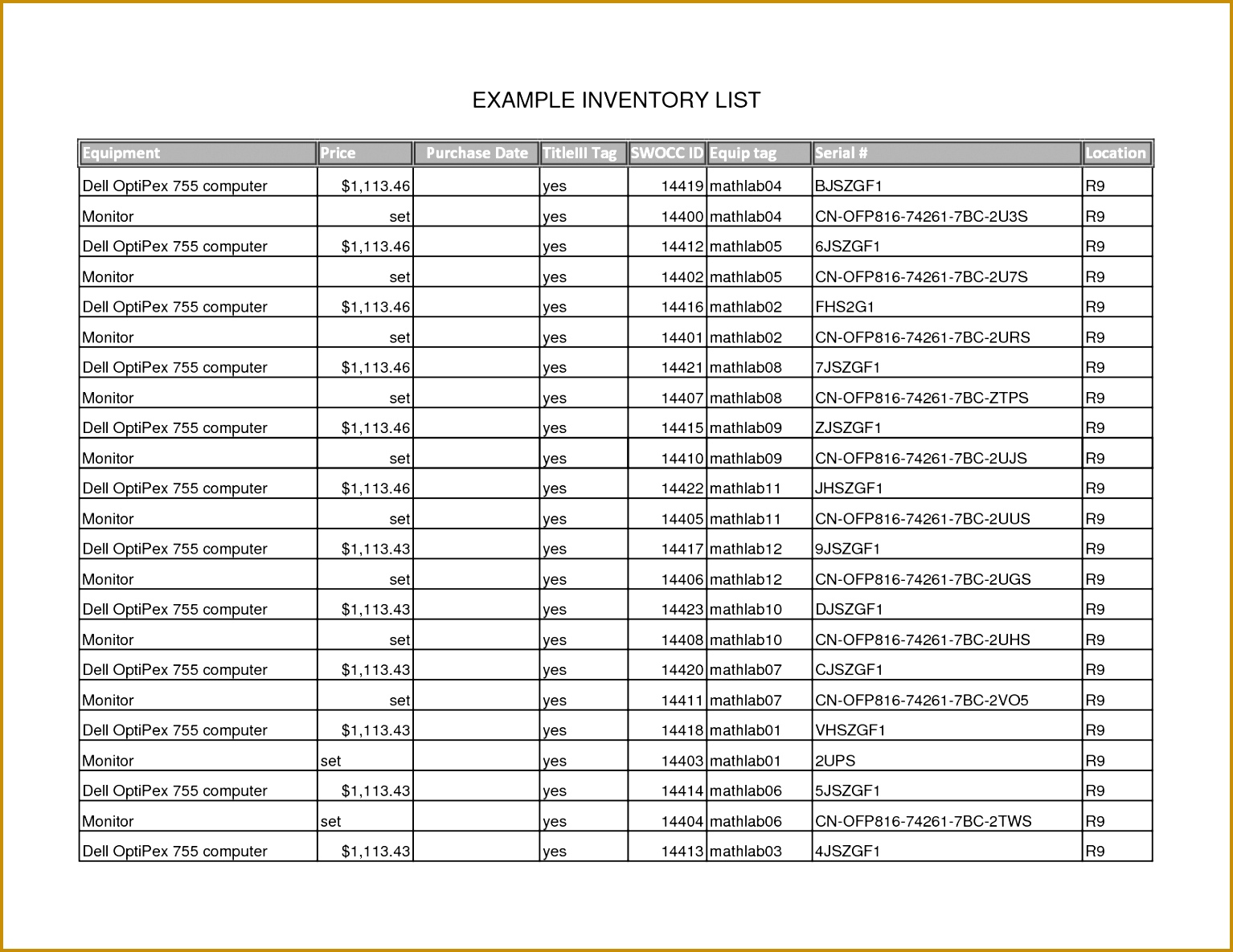 7 Example Of An Inventory List
