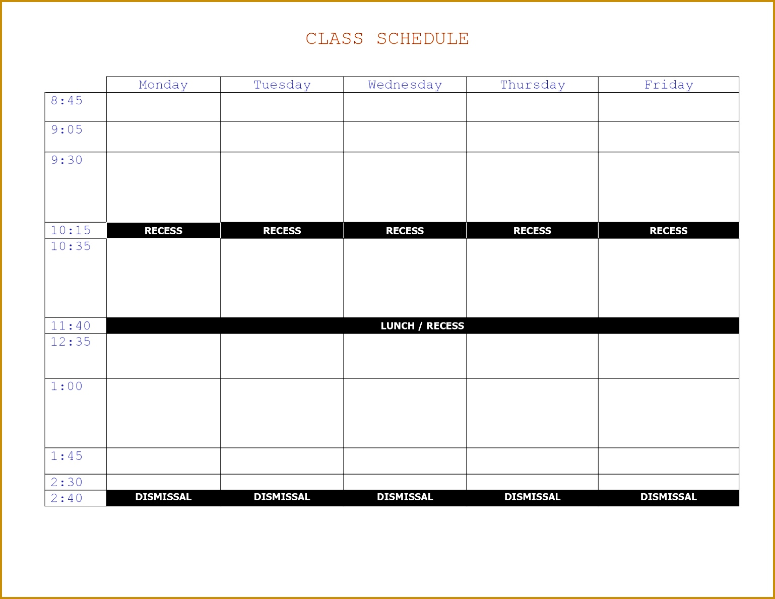 5 Class Schedule Maker