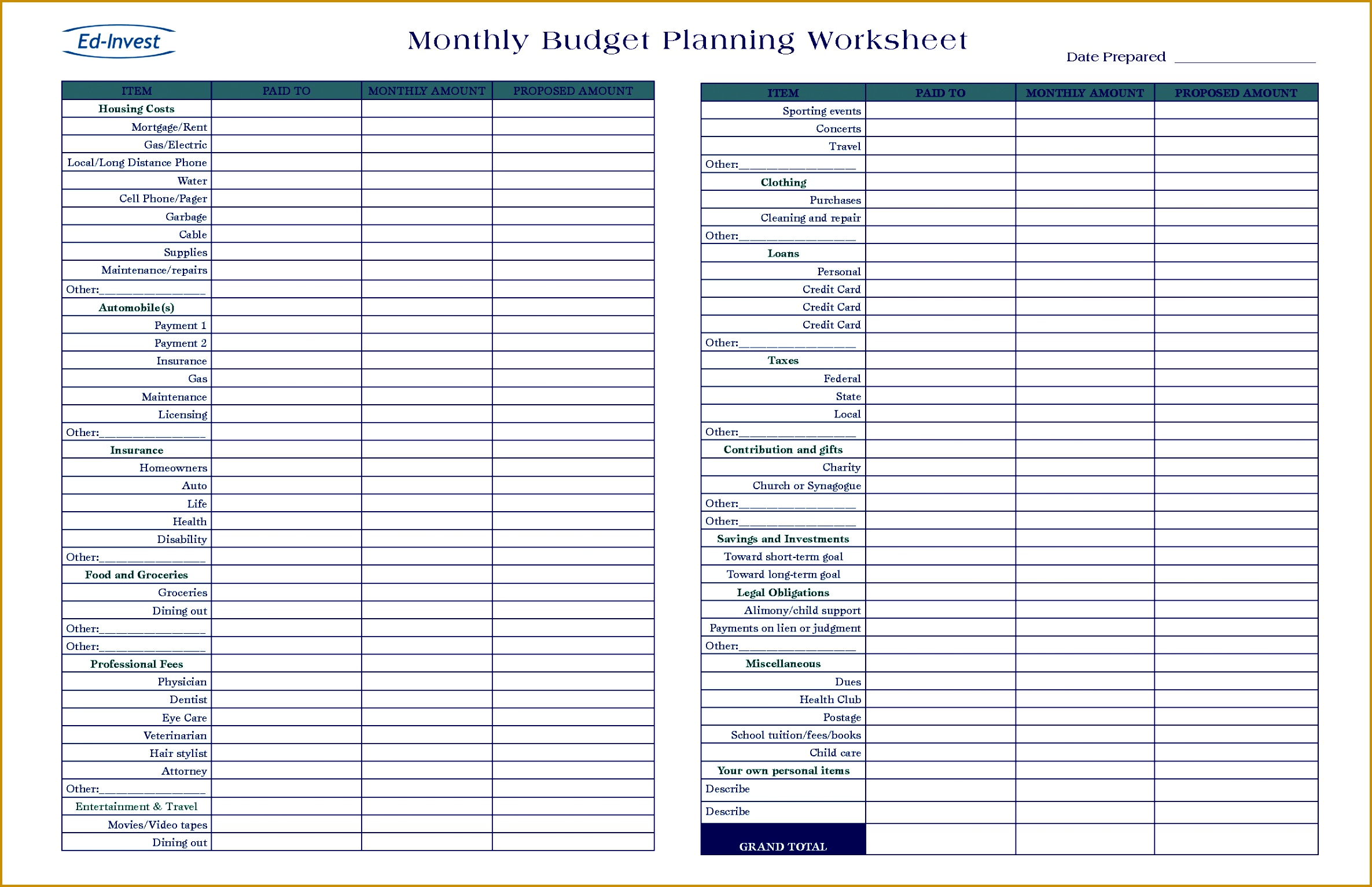 3 Monthly Financial Plan Template