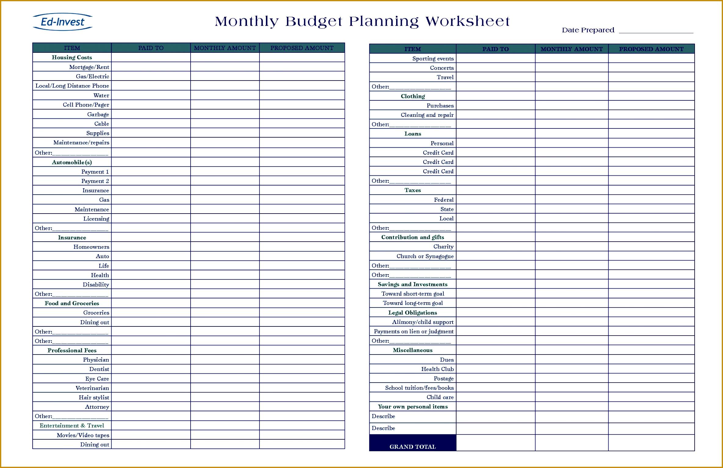 5 Not For Profit Budget Plan Sheet