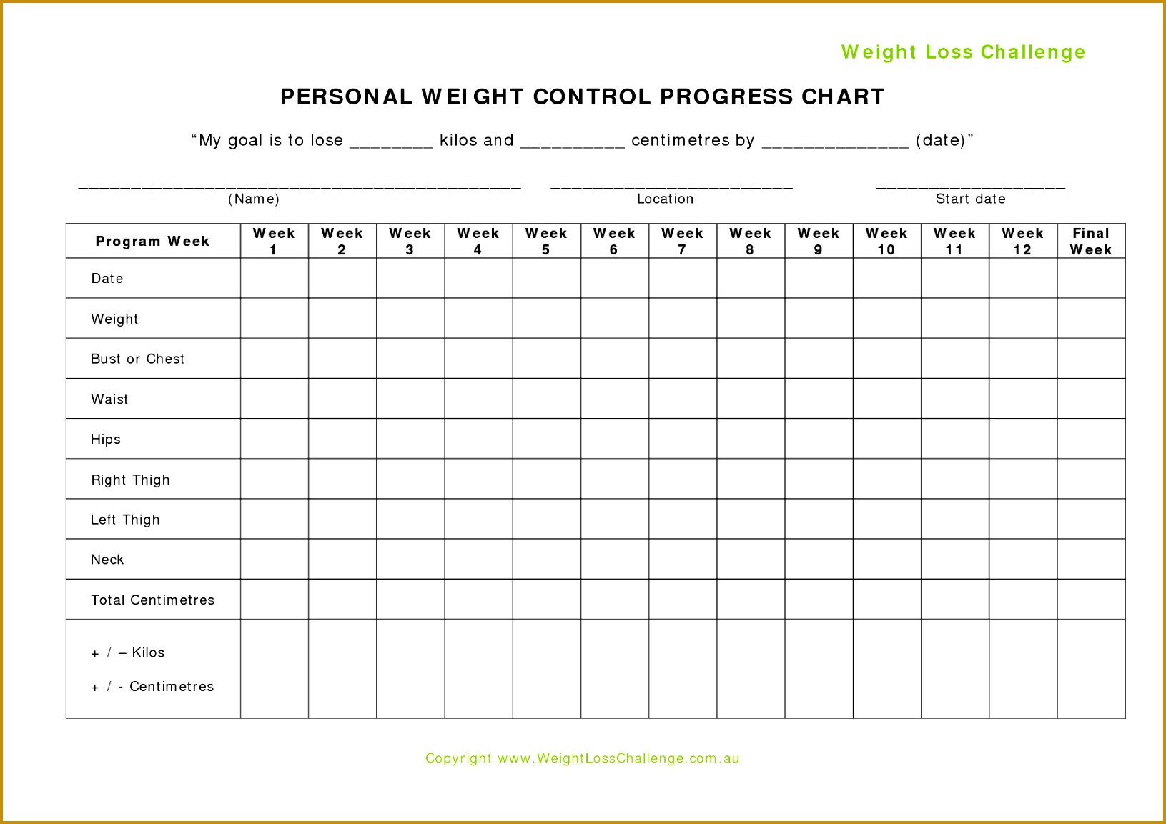 8 Weight Loss Template