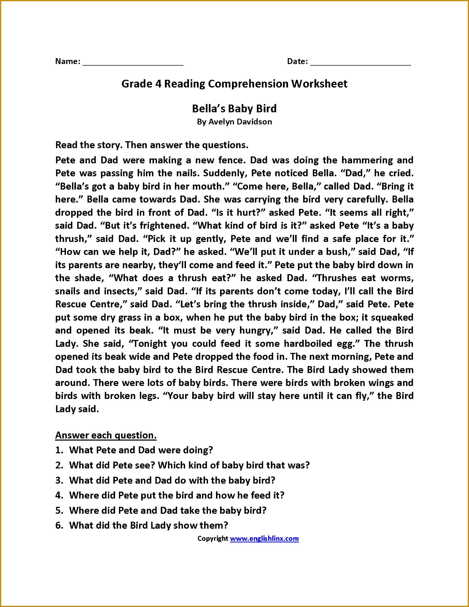 7 3rd Grade Reading Comprehension Worksheets