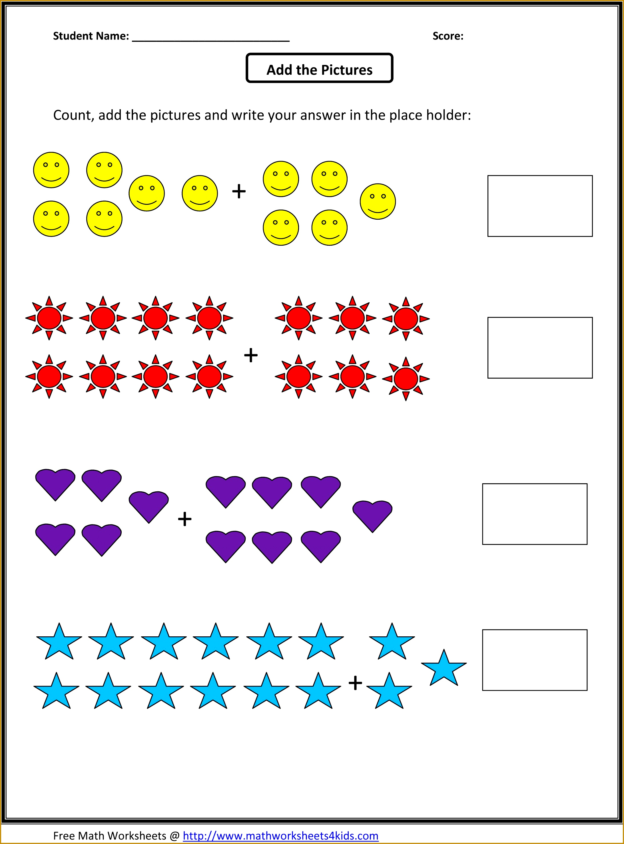 4 Addition Worksheets For Grade 1