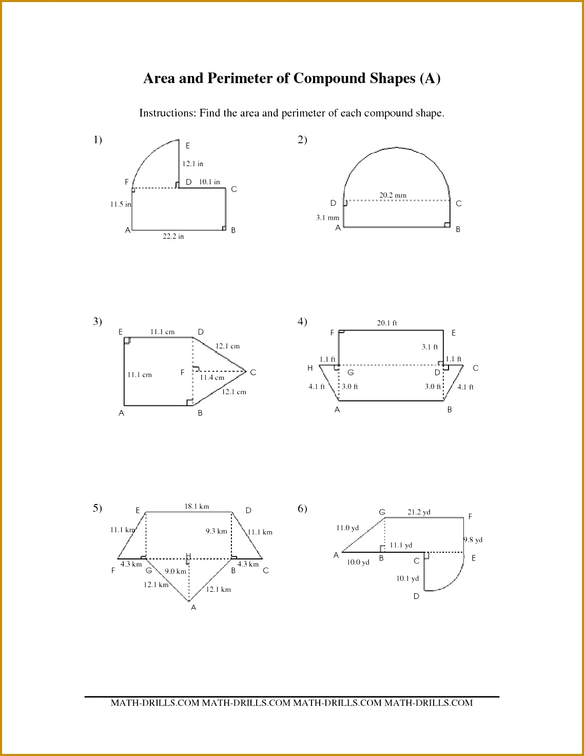 3 Area Of Compound Shapes Worksheet
