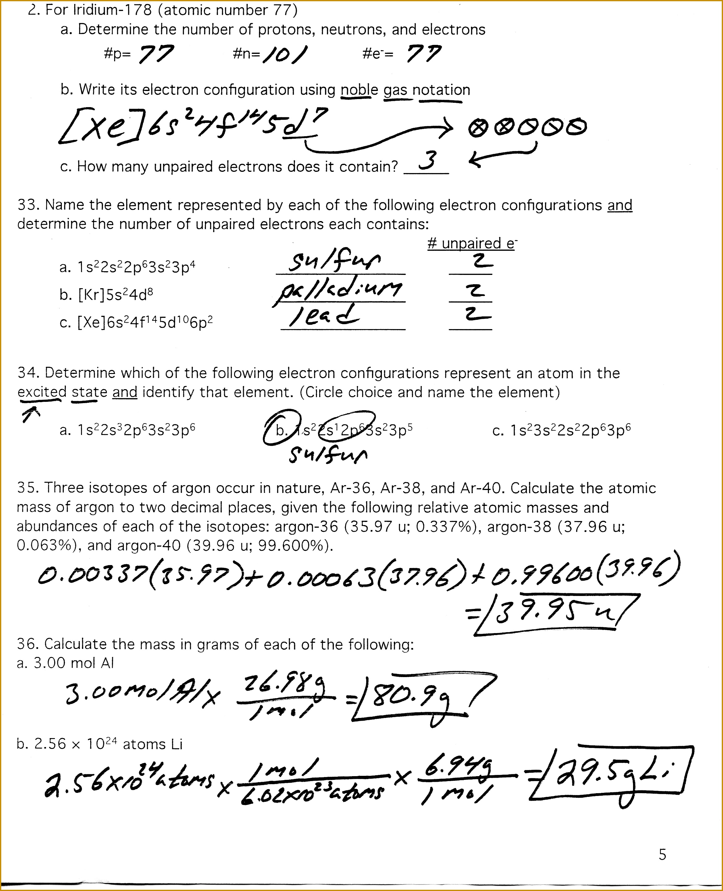 6 Average Atomic Mass Worksheet Answer Key